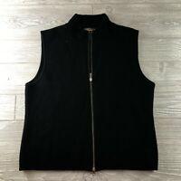 Woolrich Women's Full Zip Fleece Sweater Vest Black Size Large (P66)