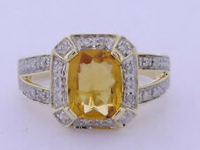 R262 Genuine 9K Yellow Gold Natural Citrine & Diamond Solitaire Ring size O 7.25