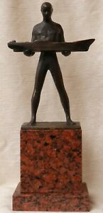 Frédéric SCHOPIN (1804-1880) - Man with a boat Patinated bronze in Cubist style