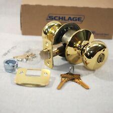 Schlage F51 PLY 605 Entry Lock in Bright Brass, Keys