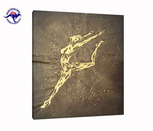 READY TO HANG OIL PAINTING ON STRETCHED CANVAS ABSTRACT ART OF GOLDEN DANCER