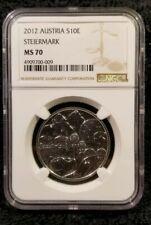 AUSTRIA SILVER 2012 PROOF 10 EURO COIN - STEIERMARK - NGC MS70