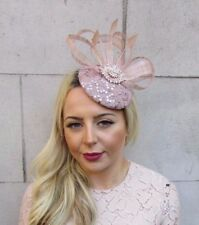 13144207ba9 Nude Sequin Feather Pillbox Hat Fascinator Formal Races Ascot Hair Clip 4454