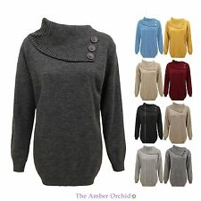 No Pattern Polo Neck Plus Size Jumpers & Cardigans for Women