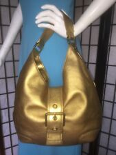 Michael Kors Gold Leather Hobo Purse With Front Buckle