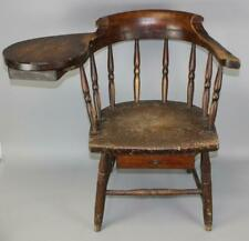 "A RARE EARLY 19TH C CT ""WRITING ARM"" WINDSOR CHAIR IN ORIGINAL ATTIC SURFACE"