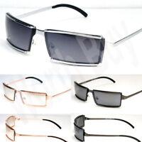 Mens Womens Rectangular Sunglasses Fashion Shades Metal Frame Retro Vintage Wrap