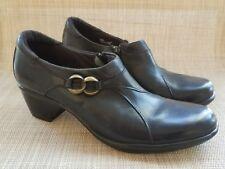 Womens CLARK Black Leather Side Zip Bootie Heels Shoes Size 7 M