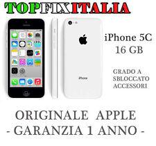 APPLE IPHONE 5C 16GB BIANCO GRADO A ORIGINALE RICONDIZIONATO +GARANZIA+ACCESSORI
