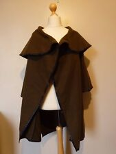 TU PU Trim Cape Coat With Kimono Style Sleeves & Pockets One Size Green