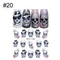 4X Nail Art Water Decals Transfer Sticker Halloween Clown Mask Stickers Manicure
