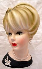 "HEAD VASE PLANTER 8 1/2"" BLONDE WITH FAUX PEARL NECKLACE AND EARRINGS IN BLACK"