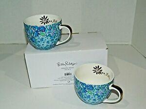 Lily Pulitzer Blue 12 Oz Ceramic Cups NIB