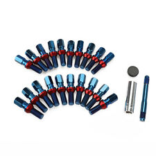 20pc Racing M12x1.25 Blue Spline Wheel Lug Bolts Nuts 40mm Shank Ball Seat + Key
