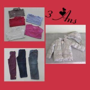 Lot de 9 vêtements hiver fille en 3ans ( Orchestra, Sergent major, Dpam, Okaïdi)