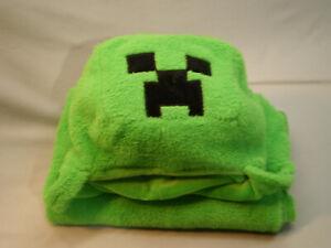 "Minecraft Creeper Hooded Blanket Plush Soft Green 30x50"""