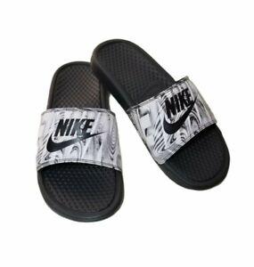 Nike Benassi Mens Slides Sandal 631261- 021 Black/White Sz 8 New no Box or Tags