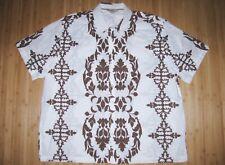 Old Navy Shirt Hawaiian Size 2Xl Xxl Cotton White with Brown Hawaii Quilt Design