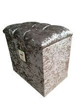 DRESSING TABLE STOOL BOX in a SILVER GLITZ fabric with a 2 CRYSTAL hinge lid