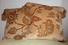 Pair (2) Browns Floral Design Square Throw Pillows Bell Fringe Tassel Cushion