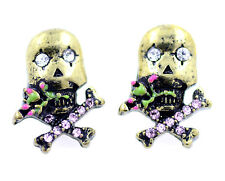 Goth punk biker style bronze and pink colouredcrossbones skull stud earrings