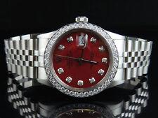 Mens Rolex Datejust Quickset 16014 Jubilee 36 MM Red Dial Diamond Watch 3.0 Ct