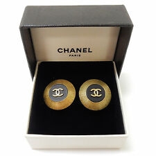 Rise-on CHANEL Gold Plated CC Logos Clip Earrings #1581