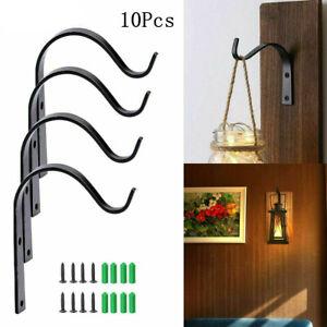 10Pcs Indoor Metal Hanging Plant Hooks Basket Bracket Outdoor Garden Wall Decor