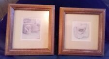 """Adorable Two Small """"Porcupine"""" Pictures Mated Wood Framed Art 5 1/4"""" x 5 1/2"""""""