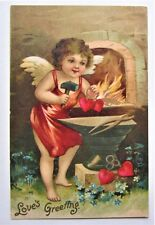CUPID Makes Hearts at the Forge 'Love's Greeting' VALENTINE  Embossed Postcard