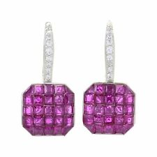 Meher Jewelry Invisible Set Ruby Simulated Gemstone Drop Sterling Silver Earring