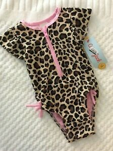 Size 12 Month Girls' Leopard Print Zip-Front Flutter Sleeve 1-Piece Swimsuit NWT