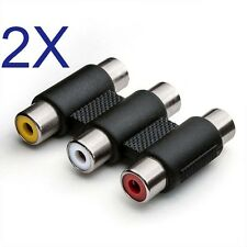 2X 3 RCA AV Audio Video Female to Female Jack Coupler Adapter 3RCA Connector