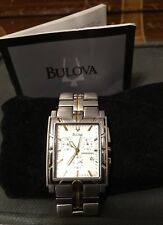 AUTH Bulova Men's STAINLESS STEEL SQUARE FACE CHRONOGRAPH TWO-TONE WATCH