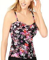 Island Escape Swimsuit Tankini Top Black Red Size 6 Tahiti Bandini $44 NEW PL599