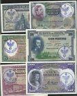 LOTE 6 BILLETES REPUBLICA PESETAS 1925 1931 RESELLO FALANGE SERVICIO SOCIAL