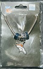 Denver Broncos Snake Chain Necklace with Euro Beads & Charm NFL Football Jewelry