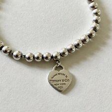 Bracciale Argento Tiffany Heart Perline 4mm Cuore Smaltato Usato Misura 15,5cm