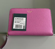 MULBERRY MEDIUM ZIP AROUND WALLET IN SMALL CLASSIC GRAIN LEATHER - ORCHID (Pink)