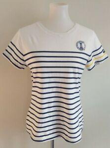 Armor Lux Womens L Short Sleeve Tee T Shirt Top White Blue Yellow Stripe LOGO