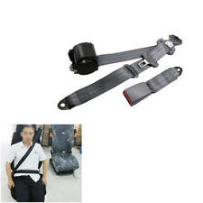 Gray Nylon 3 Point Car Front Seat Belt Buckle Automatic Retractable Strap Set