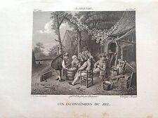 INCONVENIENTI DEL GIOCO Carte Incisione XIX sec ADRIAEN OSTADE  pittore olandese