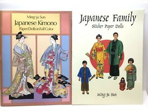 JAPANESE Kimono PAPER DOLLS & Family FULL COLOR 2 Books Ming-Ju Sun