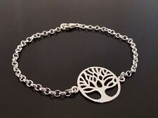 "2.5mm Genuine 925 Sterling Silver Bracelet Chain ~ Tree Of Life Charm 7"" (18cm)"