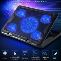 11-17 inch Laptop Cooling Pad 5 Fans Gaming Notebook Cooler Mat LED Dual USB USA