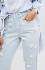 Lost Ink Mom Jeans With Floral Embellishment - Brand NEW! Size 10