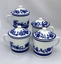 Williams Sonoma Covered Cup with Floral Blue & White Design - Set of 4