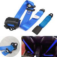 Einziehbar 3 Punkt Sicherheitsgurt Lap &Diagonal Gurtgurte Rennauto Blaues Nylon