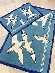 "HERMES 2 Towels Set Birds Print 60""x37"" & 37""x 23"""