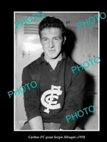 OLD 8x6 HISTORIC PHOTO OF CARLTON FC GREAT SERGIO SILVAGNI c1958